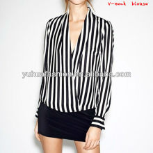 Ladies white and black stripe V-neck Blouse,ladies tops latest design