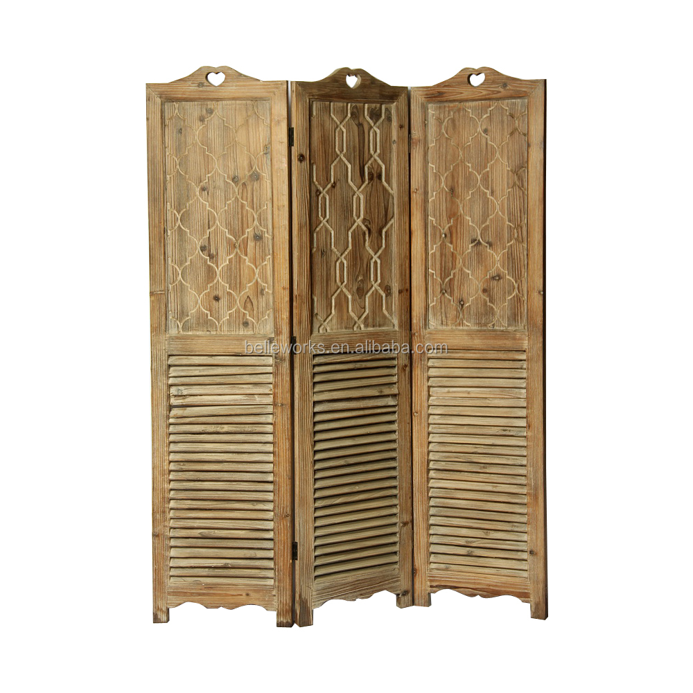 3 Panel Folding Screen Room Divider In Louver Carving Wood
