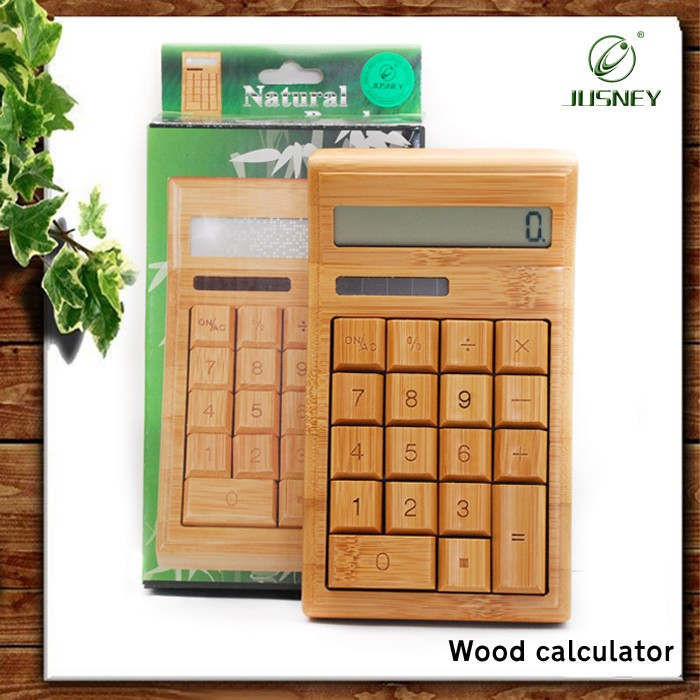 Hand made 100% real wood wholesale Solar bamboo wooden calculator