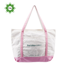 Customerized Printing Promotional Zipper Canvas Tote Bag Low Price Pink Womens Canvas Bags