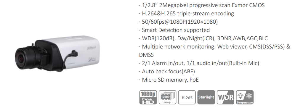 Dahua 2MP Smart Detection WDR Box Network Camera Audio & Alarm in/out POE Camera IP IPC-HF5231E