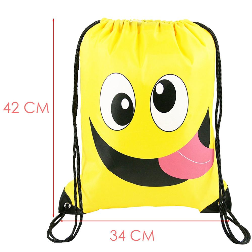 Emoji Party Supplies Favor Bags Drawstring Backpacks For Kids Teens Boys And Girls Birthday Goody Gift 10 Pack