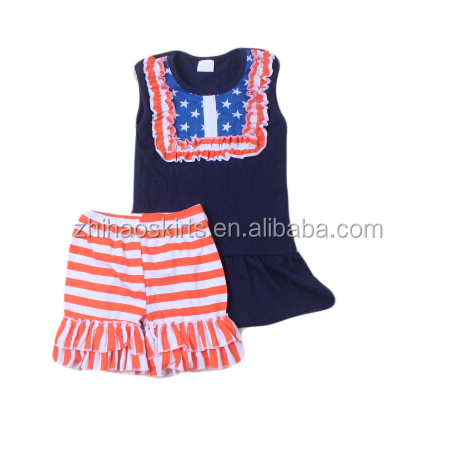 Cute baby girl boutique outfits toddler girls sleeveless wholesale kids trendy National clothing