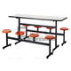 School furniture supplier canteen folding 6 chairs fiber glass dining table set