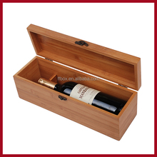 nature bamboo wood gift box for wine single bottle packaging box