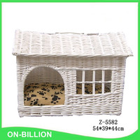 White color softy cushion wicker material dog house with window
