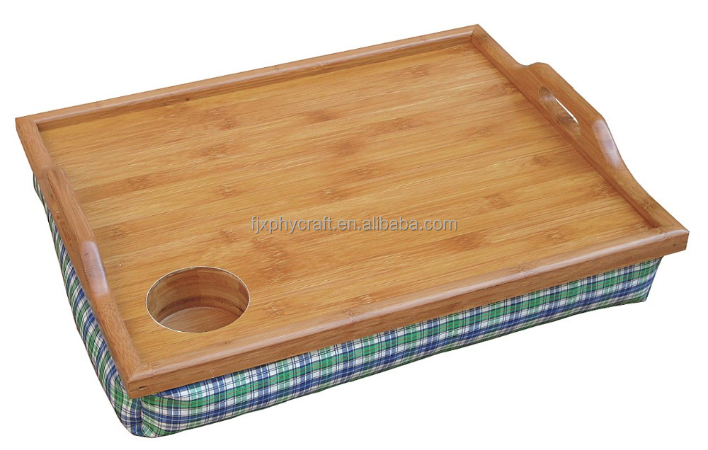 New Style Bamboo Cushion Padded Lap Top Breakfast Tray with Cup Holder