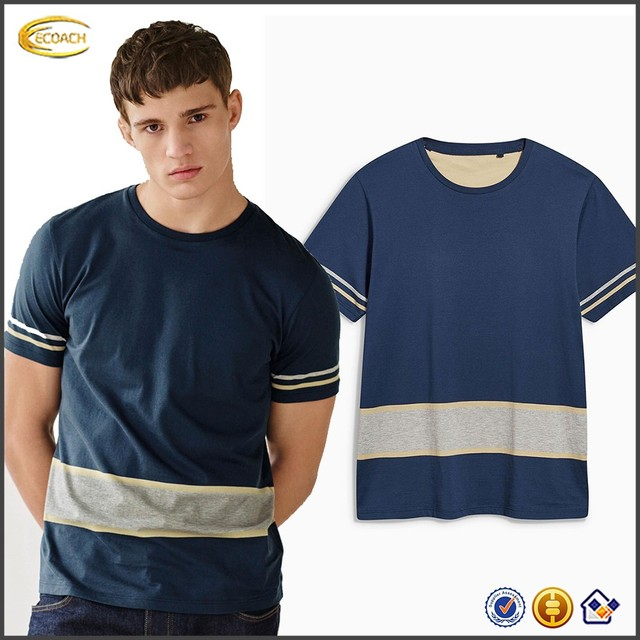 Ecoach Wholesale OEM Young Men Fashion Design Fancy Navy Stripe Short Sleeve Round Collar T Shirt