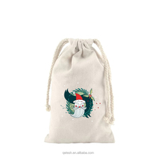 2018 cotton drawstring christmas gift pouch bag