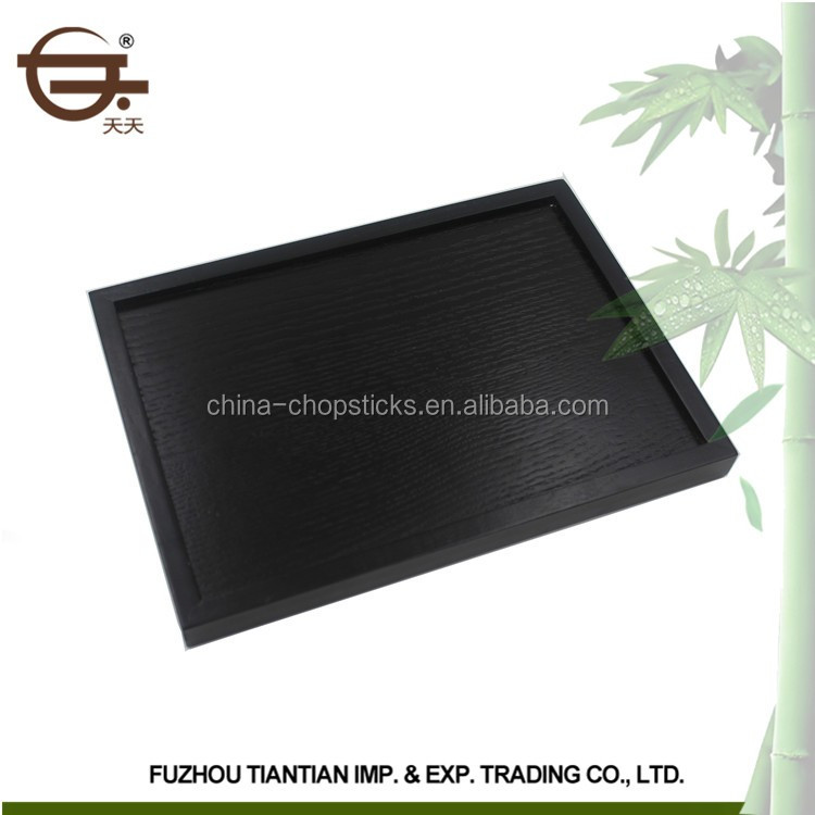 Factory high quality kitchenware black square european style wooden tray