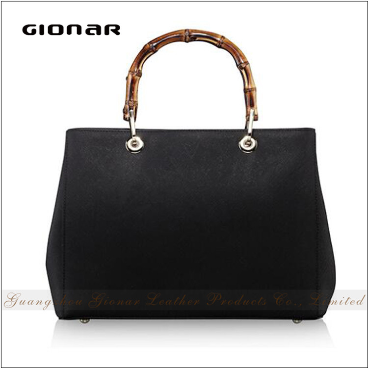 Hot Sell Designer Branded Cowhide Leather Tote Bag Lady Bamboo Handbags