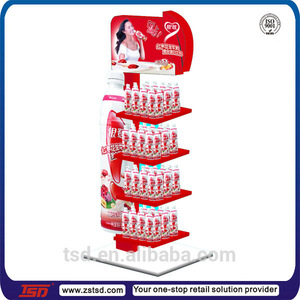 TSD-M877 energy drink display, retail store floor stand soft drink rack, supermarket promotional stand