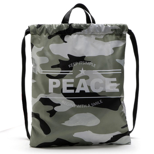 Outdoor Sport School Polyester Camouflage Drawstring Tote Bags