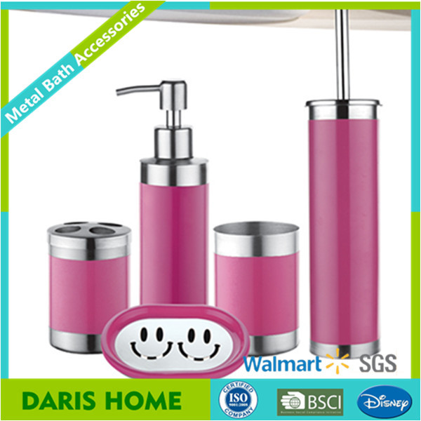 Useful Bath Accessories With Toilet Brush Holder, Metal Bath Accessories Simple Design