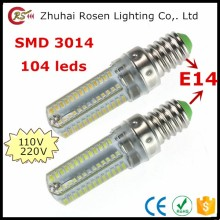 SMD 3014 led lamp silicone 220V 110V 5w e14 led bulb 104 leds