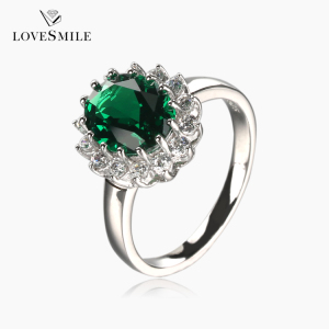 Unique products wholesale jewelry 0447668CLR green NANO gemstone rings sterling silver 925 ring