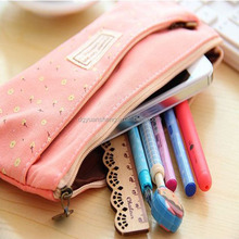 fabric durable double sided pencil case with zipper with fashion various style for promotion and gift