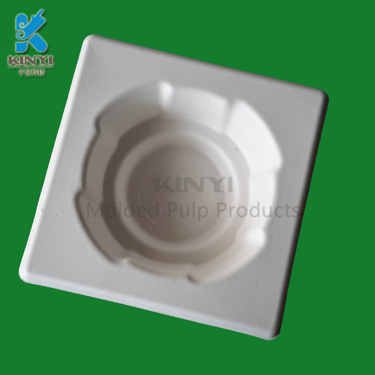 Wholesale white pulp wet press glass bottle packaging paper tray