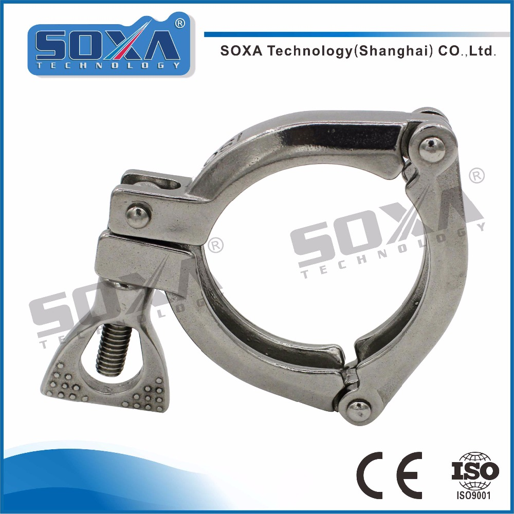 Food grade ISO sanitary 304 stainless steel three piece clamp with quick connect
