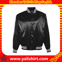 Custom made 100% polyester satin varsity jacket wholesale satin baseball jackets