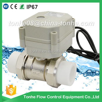 2-way brass nickel plated motorized control valve PP-R with actuator electric ball valve