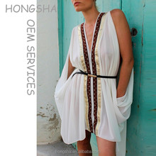 White Embellished Open Split Sleeves And Adjustable Feather Tie Back Kaftan Dress HSk7279