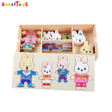 Cartoon Rabbit Change Clothes Wooden Toy Puzzles Montessori Educational Dress Changing Jigsaw Puzzle toys for children girl Ding
