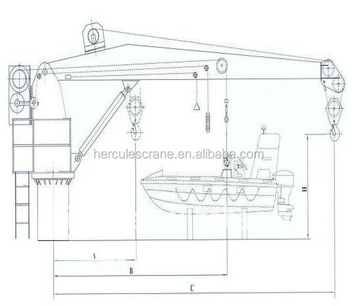hydraulic 50 ton marine jib crane electrical offshore