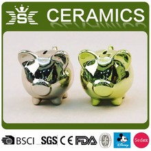 Hot New Kids Toy Ceramic Small Plated Pig Shape Piggy Bank