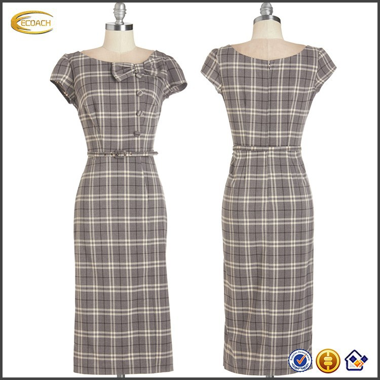 lady long Plaid smart elegant dress with bowknot