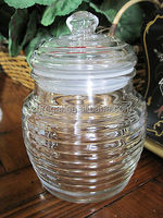 ANCHOR HOCKING CLEAR BEEHIVE SHAPED STORAGE CANISTER JAR HONEY JELLY CANDY DESK