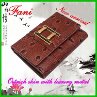 New arrival magic with magnetic design ostrich leather wallet for human