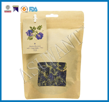 FDA Approval Food Industrial Using Zipper Kraft Paper Green Tea Herbal Tea Packaging Bags With Clear Window