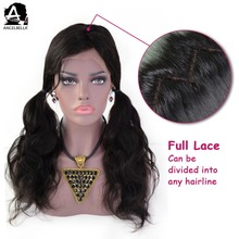 Angelbella Wholesale Lace Wig Virgin Remy Hair 1B# Brazilian Human Hair Full Lace Wig