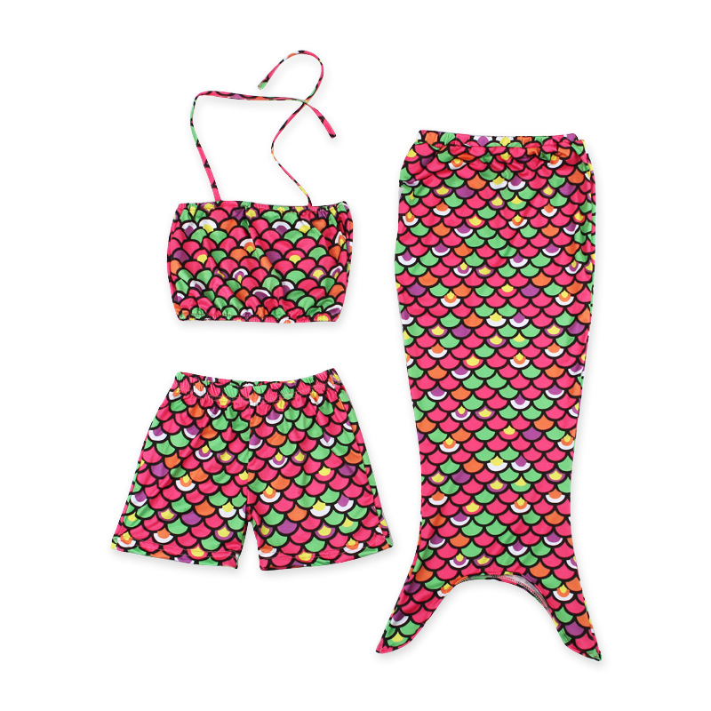 Wholesale fashion hot sale corlorful kids cosplay mermaid tail bikini sets swim