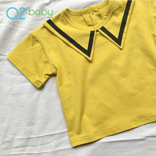Q2-baby Custom Baby Boy 95 Cotton 5 Spandex V Neck T Shirts