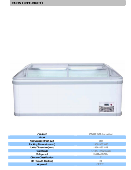 Manhattan Supermarket display chest freezer with cooling system refrigeration available