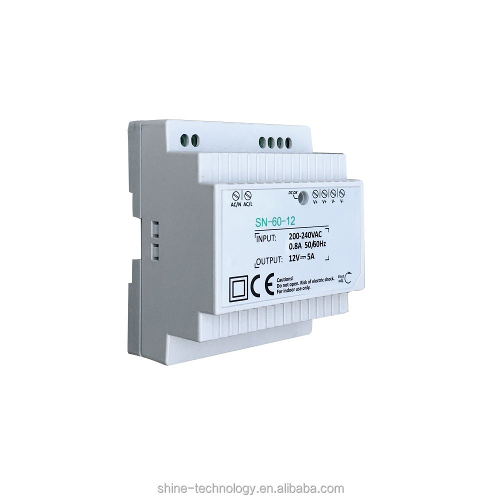 High quality CE EMC industrial din rail type power supply adapter 12v 24v 60w, 12 24 vdc power on din rail TS-35/7.5 or 15