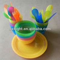 Colored plastic disposable plates spoons