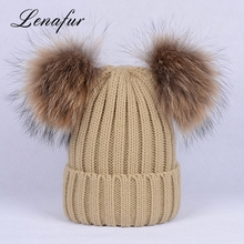 Funny Acrylic Custom Pom Beanie Raccoon Ball Knit Hat