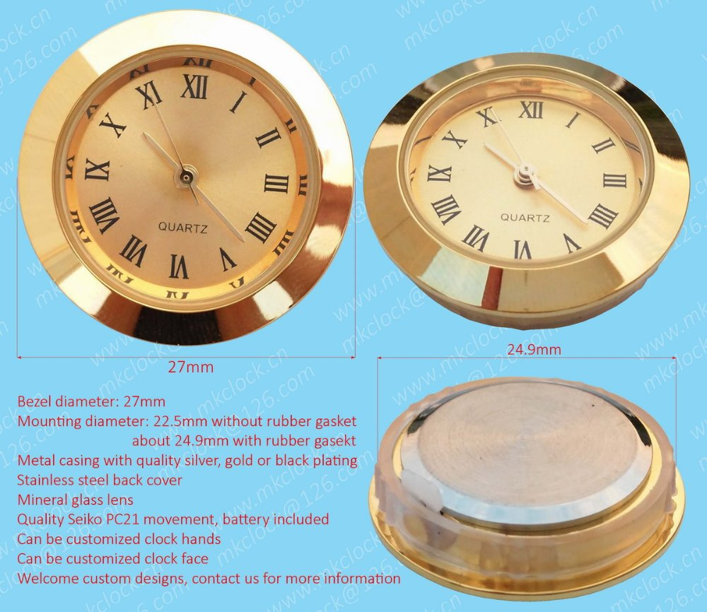 27mm clock insert with Seiko watch movement