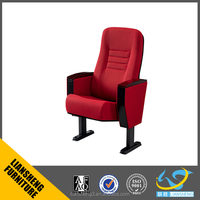 Modern theater furiniture,red fabric auditorium table and chair