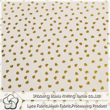 Grace quality shiny heart gilding polyester mesh fabric