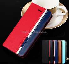Contrast color Fashion PU Leather Wallet Flip Mobile Phone Case Cover For Huawei U8950 G600