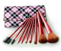 Professional 9 pcs Makeup Brush Set Perfect For Travel With Purple Red Plaid Leather Pouch Facial Beauty Tool Kit V0170A