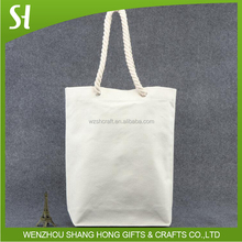 canvas bag cotton canvas tote/plain shopping tote bag with rope handle