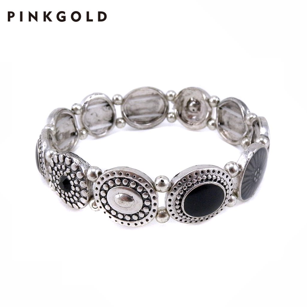 PINKGOLD Jewelry Stock Colorful Natural Stone Alloy Bracelet Jewelry Wholesale Supplier