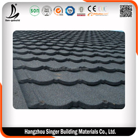 Windproof Corrugated Stone Coated Roofing Tiles Grey , House Exterior Roofing Tiles 0.4mm