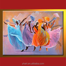 Modern Handmade African Dancing Woman Oil Painting