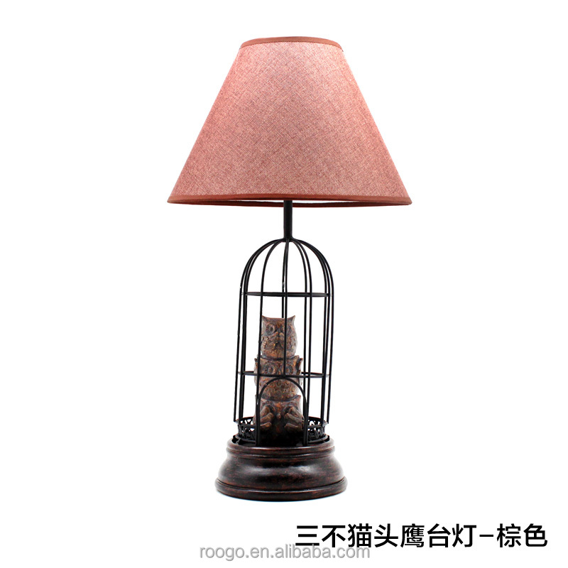 Roogo cage animal Californian Indian owl table lamps